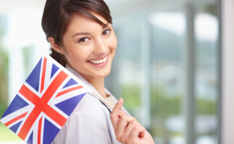 Pretty young female with Great Britain's flag